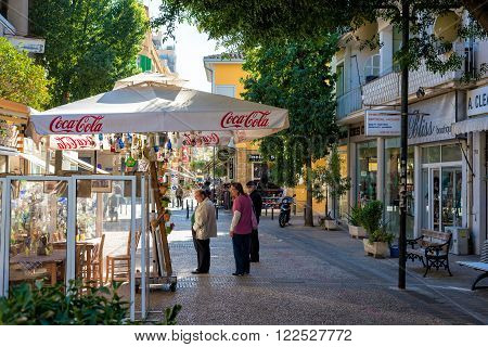 NICOSIA, CYPRUS - DECEMBER 3: Ledra street, a major shopping thoroughfare in central Nicosia on December 3, 2015 in Nicosia.