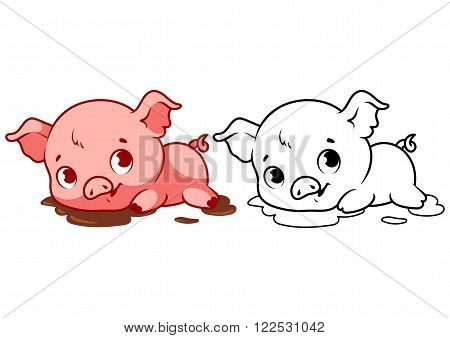 Cute little piggy. Cartoon vector character isolated on a white background with black outline.