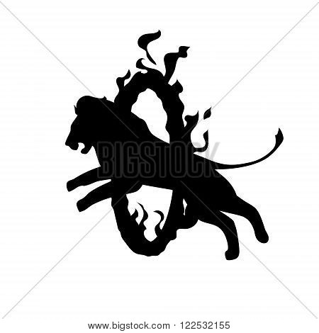Lion jumping through fire ring. Black and white sign, circus animal icon. Vector illustration.