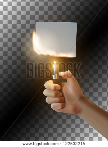 Hand with lighter on transparent background. Burning piece of paper. Vector illustration.