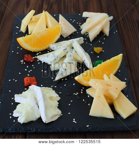 Cheese Plate: Emmental Camembert Cheese Blue Cheese