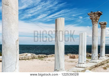 Ancient Greek basilica and marble columns in Chersonesus Taurica. Sevastopol Crimea. Russia