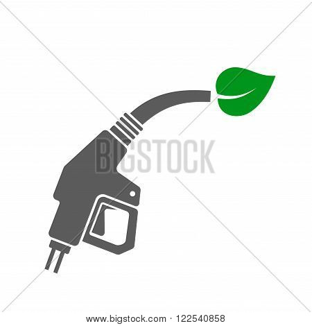 Bio Fuel Concept Icon. Gas Station Gun with Green Leaf. Vector