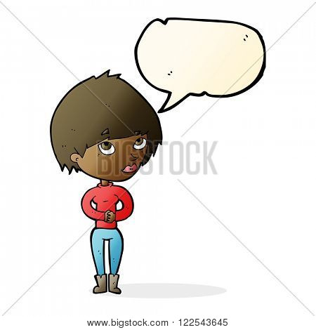 cartoon woman considering with speech bubble