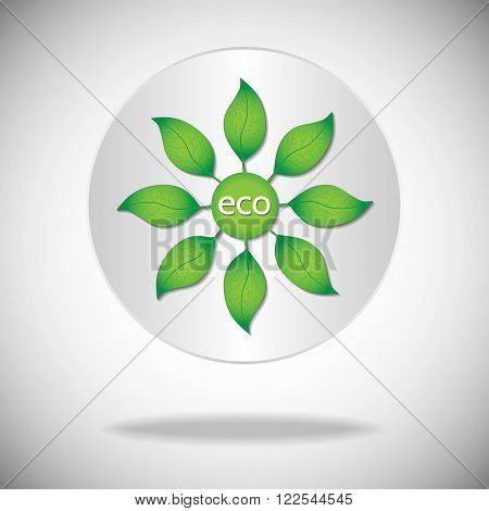 Ecological or environmental icon or logo. Green leaves with eco text on a white circle background.