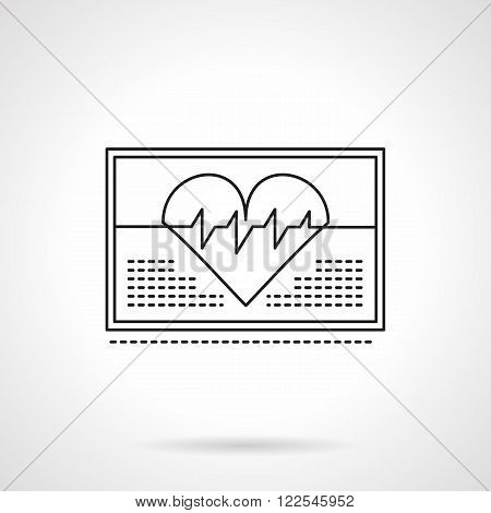 Heartbeat on monitor flat thin line vector icon