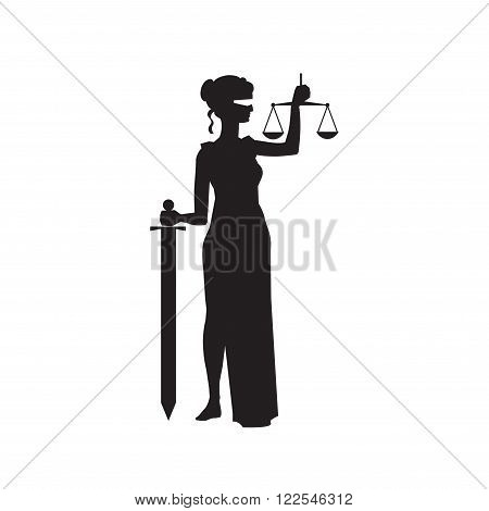 Justice lady Themis Femida holding scales and sword vector illustration
