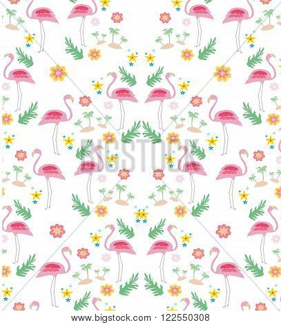 seamless flamingo bird pattern background , vector illustration