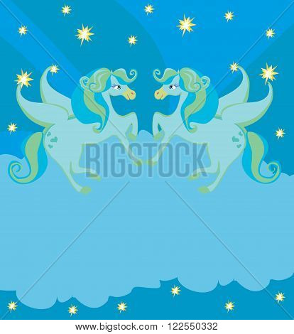 Frame with Pegasus blue card , vector illustration