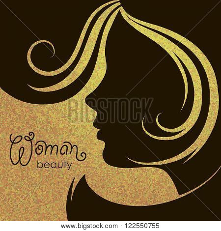 silhouette of beautiful female face on gold background