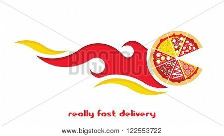 Flat pizza delivery. Vector fast food. Flat vector pizza express delivery. Vector fast food delivery logo.
