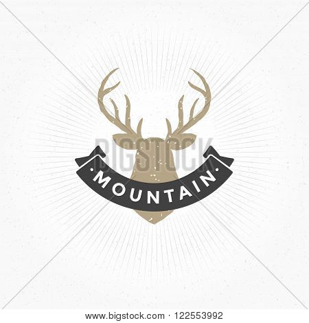 Deer head Hand Drawn Design Element in Vintage Style for Logotype, Label, Badge, T-shirts and other design. Hunting club Retro vector illustration. Deer Head Silhouette, Retro Logo.