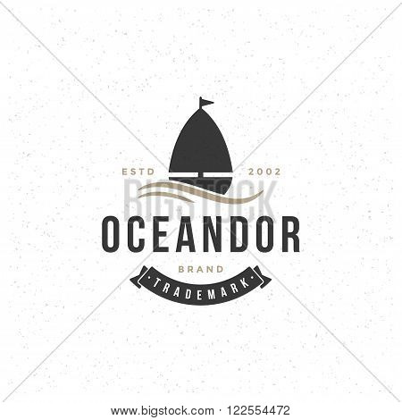 Yacht Design Element in Vintage Style for Logotype, Label, Badge and other design. Yachting Retro vector illustration. Yacht Boat Silhouette, Retro Logo.