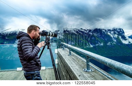 Nature photographer Stegastein Lookout Beautiful Nature Norway.