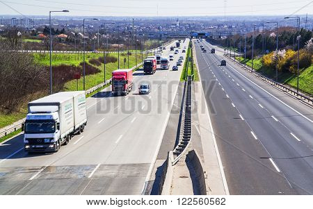 Highway Transportation With Cars And Truck