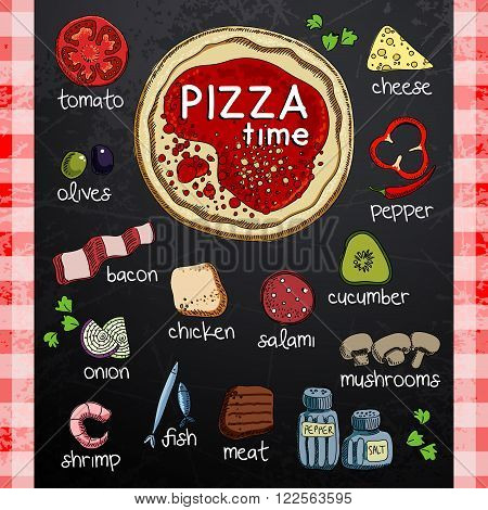 pizza image and various ingredients for cooking on a black backgrpund
