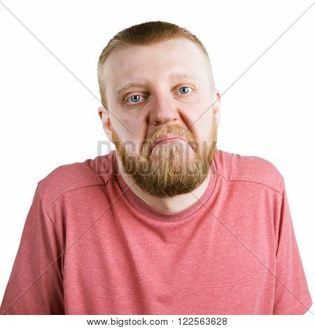 Bearded man in a pink shirt shrugs