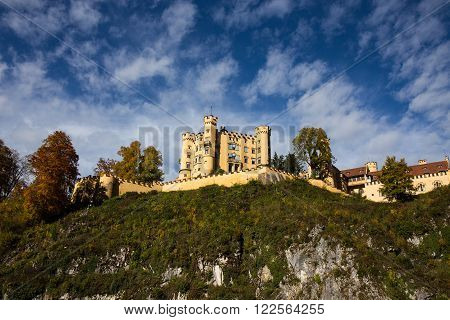 Castle with Cloudy Sky Schloss Hohenschwangau - Fussen Germany