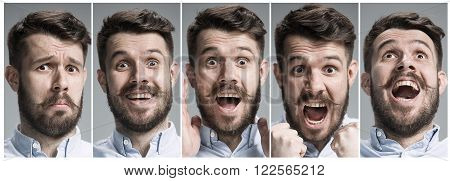 Set of young man's portraits with happy and surprised emotions on gray background
