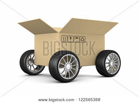 Open Cardboard Box on Wheels on White Background 3D Illustration, Shipment Concept