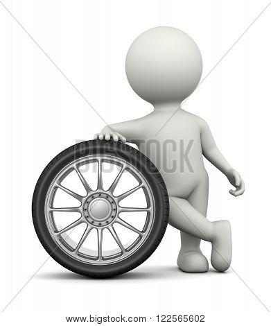 White 3D Character Leaned on a Car Wheel 3D Illustration on White Background