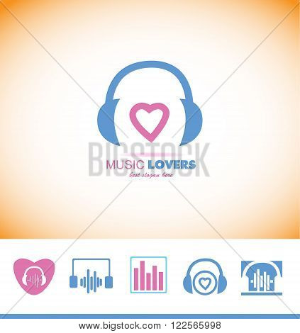 Vector company logo icon element template music lover heart shape headphones volume producer studio