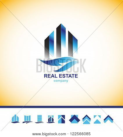 Vector company logo icon element template real estate city building skyscraper property residential construction set