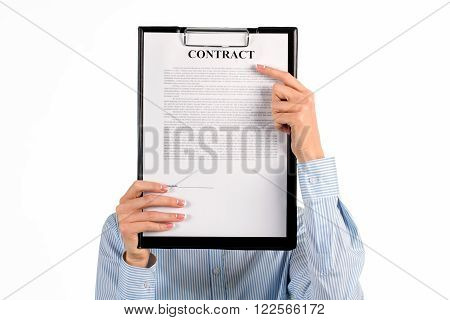 Secretary hiding face behind clipboard. Clipboard covers female employee's face. All you need to know. Face of modern partnership.