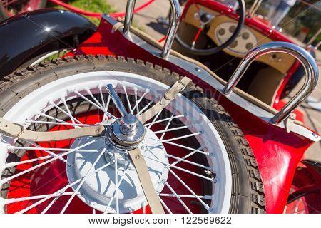 Spare wheel of retro car