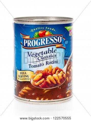 Winneconne WI - 7 February 2015: Can of Progresso Vegetable Classics Tomato Rotini soup.