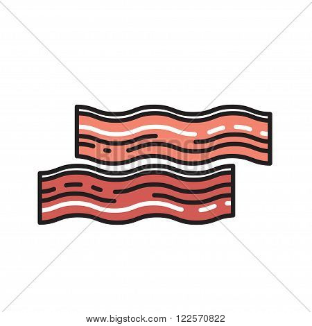 bacon in a modern style icon with shadow and isolated background. Symbol of bread.