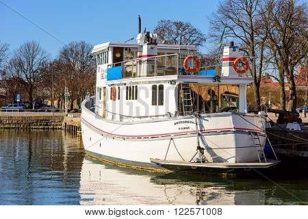 Kalmar Sweden - March 17 2016: The passenger ship Andromeda moored at the harbor. Ship is seen from the stern.