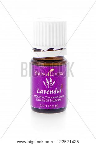 Winneconne WI - 19 February 2015: Bottle of Young Living Lavender essential oil supplement.