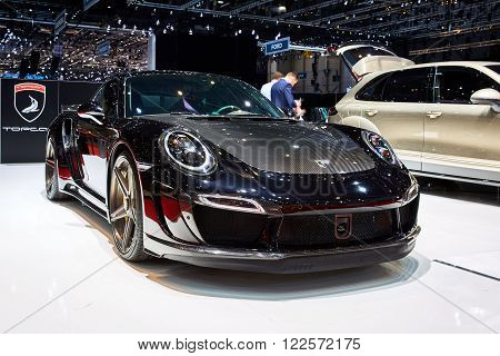 Geneva, Switzerland - March 1, 2016: 2016 Porsche 991 Turbo S Stinger GTR by TopCar presented on the 86th Geneva Motor Show in the PalExpo