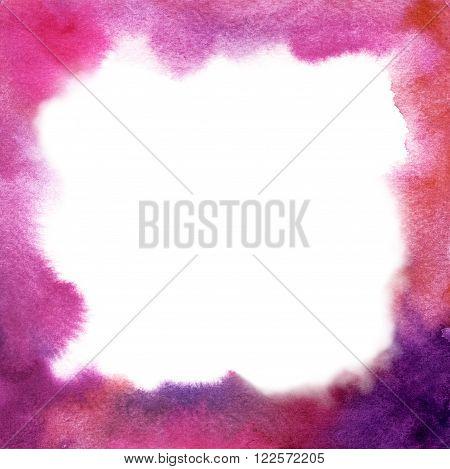 A square purple watercolor frame for design