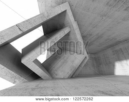 Concrete 3 D Room With Cubic Interior Structures
