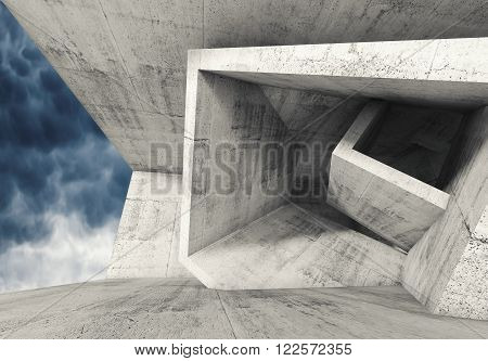 Concrete Room With Cubic Structures 3 D