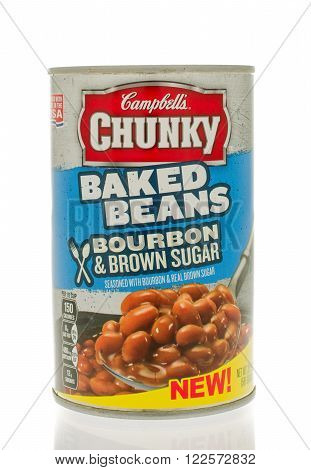 Winneconne WI - 18 Nov 2015: Can of Chunky baked beans in bourbon & brown sugar flavor.