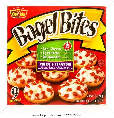 Winneconne WI -19 Sept 2015: Box of Bagel Bites made by Ore Ida in cheese and pepperoni flavor.
