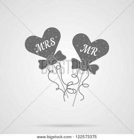 Vector Gray Wedding Hearts MR and MRS Flat Icon over light gray background. Simple element for your wedding designs wedding business projects logo web and other your projects