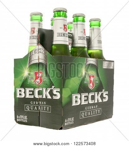 Winneconne WI -29 Oct 2015: Six pack of Beck's beer.