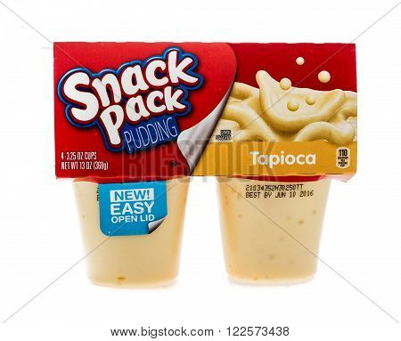 Winneconne WI - 4 February 2015: Package of Snack Pack Pudding Tapioca flavor. Created in 1984 as pre-packaged and is now owned by ConAgra Foods.