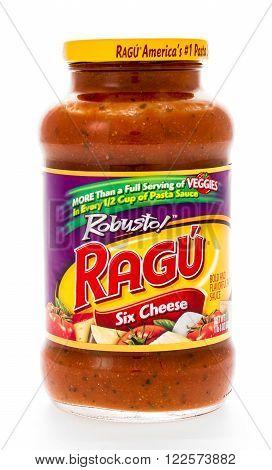Winneconne WI - 7 February 2015: Jar of Ragu Six Cheese flavored pasta sauce.