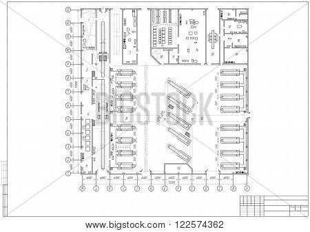design architectural plan or project technical drawing construction plan with horizontal frame on the white background. stock vector illustration eps10