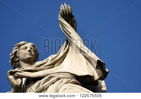 Angel With The Veil Statue On The Ponte Sant' Angelo Bridge, Rome