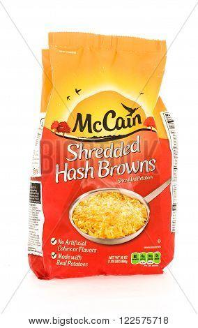 Winneconne WI - 18 August 2015: Bag of McCain shredded hash browns.
