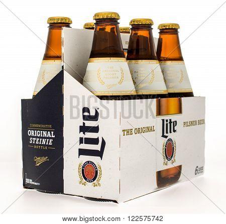 Winneconne WI -14 Oct 2015: Six pack of Miller Lite beer in new design.