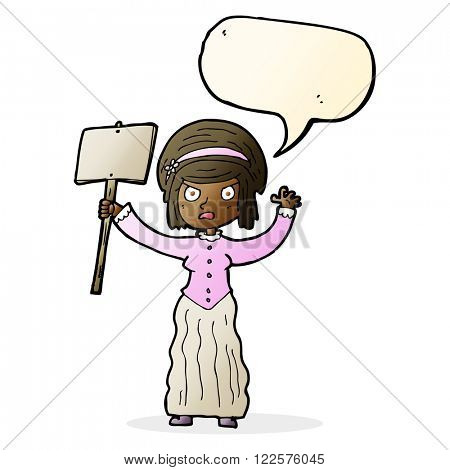 cartoon Victorian woman protesting with speech bubble poster