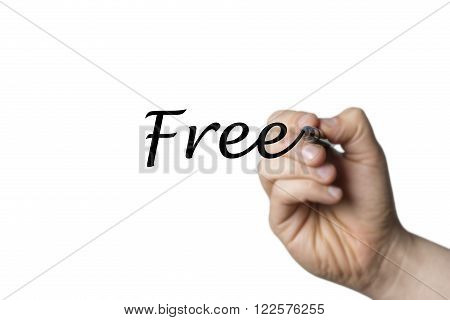 Free written by a hand isolated on white background