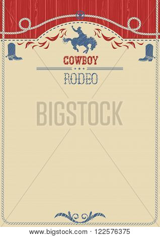 American Cowboy Rodeo Poster.vector Western Paper Background For Text